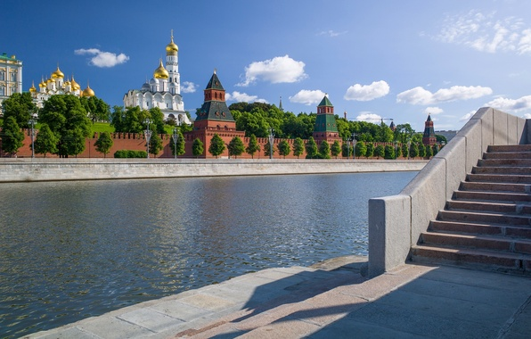 Picture river, Moscow, Russia, promenade, The Moscow river, The Moscow Kremlin, Sofiyskaya embankment