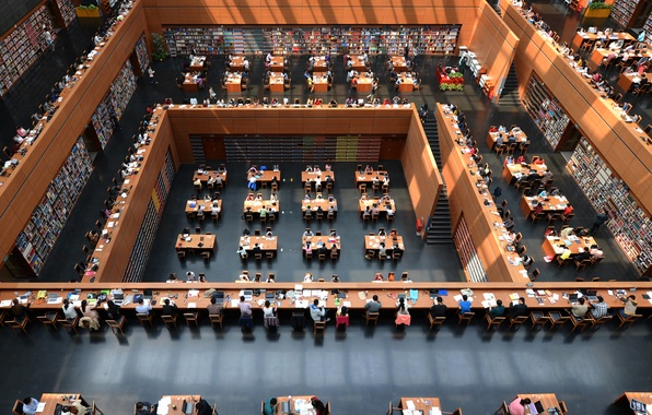 Picture table, people, study, China, Beijing, National library