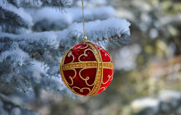 Picture snow, tree, ball, New Year, Christmas, decoration