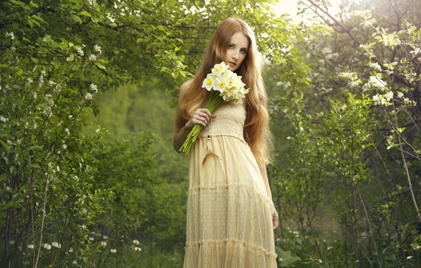 Picture look, nature, Girl, bouquet, dress, red