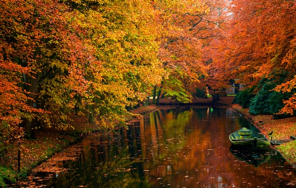 Picture autumn, water, trees, photo, romance, boat, beauty