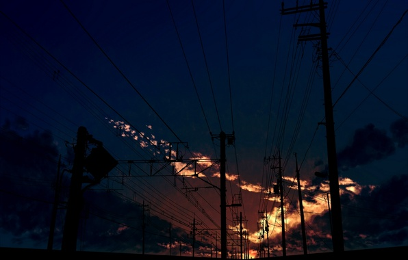 Picture the sky, clouds, sunset, posts, wire, art, kibunya 39