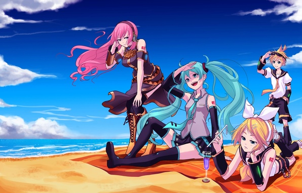 Picture sea, beach, the sky, clouds, girls, art, cocktail, guy, vocaloid, hatsune miku, megurine luka, kagamine ...