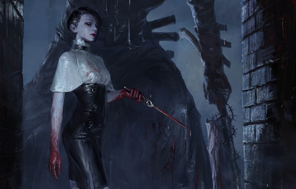 Picture girl, night, Gothic, blood, figure, fantasy, art, knife, dagger, girl, blood, fantasy, night, art, gothic, …