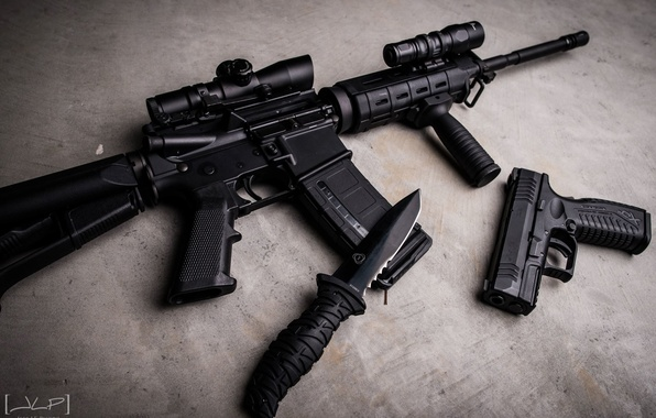 Picture gun, black, knife, machine, concrete, assault rifle, Ar-15, kit, XDm