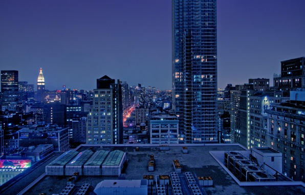 Picture landscape, night, city, the city, home, night, view, builds