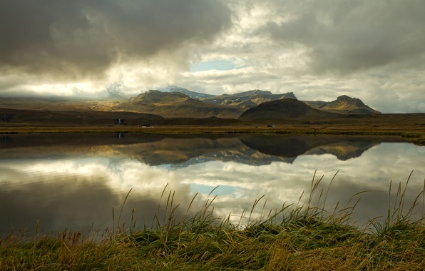 Picture mountains, clouds, lake, reflection, Iceland