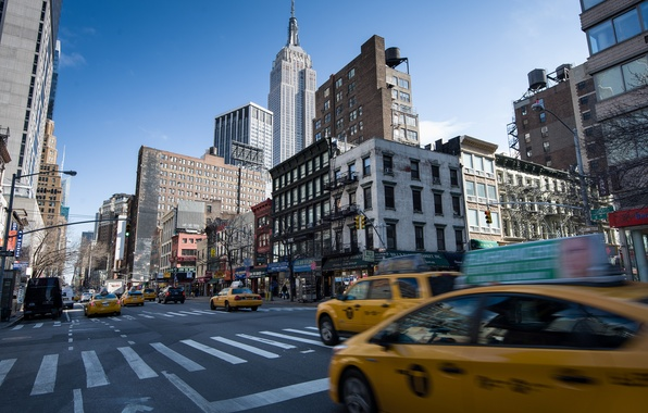 Picture road, the city, street, view, building, home, New York, skyscrapers, taxi, USA, USA, Manhattan, New …