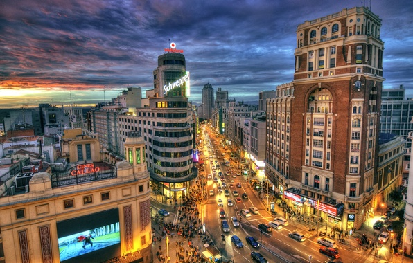 Picture road, the sky, clouds, sunset, lights, movement, home, the evening, lights, Spain, street, Madrid