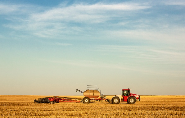 Picture the sky, clouds, field, harvest, tractor, farm