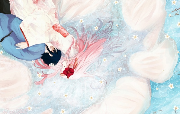 Picture water, girl, flowers, anime, art, naruto, guy, kimono, naruto, uchiha sasuke, haruno sakura, humonster