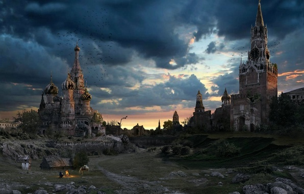 Picture the sky, Moscow, the evening, the Kremlin, ruins, Russia, St. Basil's Cathedral