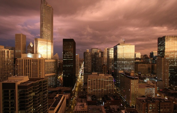 Picture building, skyscrapers, the evening, America, Chicago, USA, chicago
