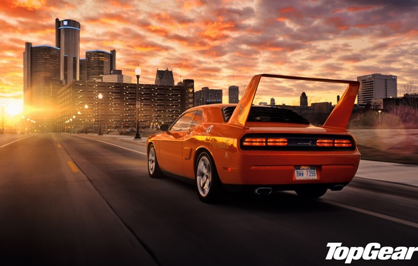 Picture road, the sky, sunset, orange, the city, tuning, lights, Top Gear, Dodge, Challenger, spoiler, muscle …