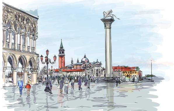 Picture the city, people, building, Leo, art, statue, column, walk