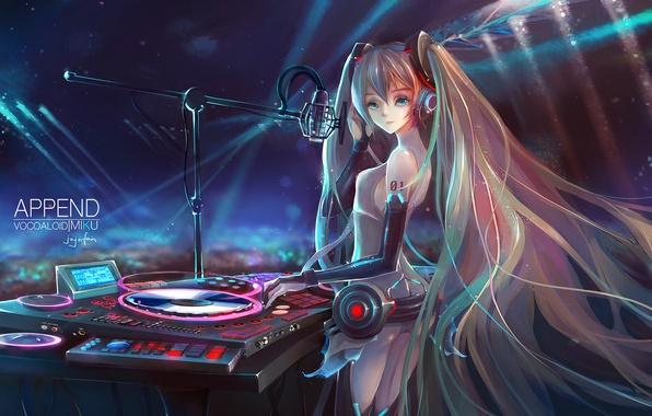 Picture girl, light, anime, headphones, art, microphone, vocaloid, miku append