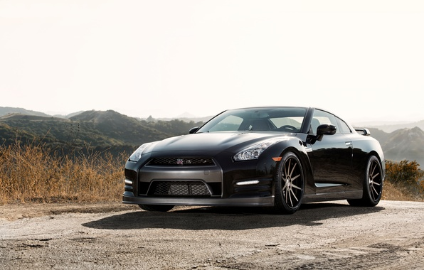 Picture the sky, grass, mountains, black, shadow, nissan, black, Nissan, gtr, mountains, gtr, r35, shadow