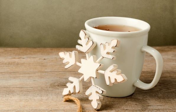 Picture table, tea, toy, Cup, white, the scenery, wooden, snowflake, holidays