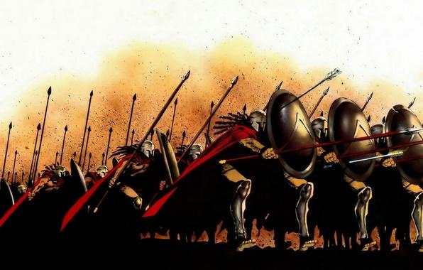 Picture figure, war, battle, 300 Spartans, shields, spears, the Spartans, cloaks, sparta