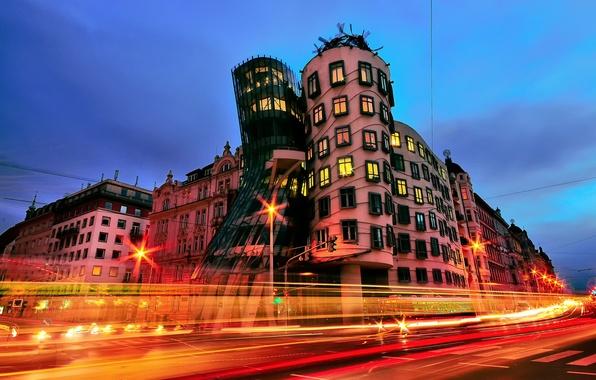 Picture the city, lights, the evening, excerpt, Prague, Czech Republic, The dancing house