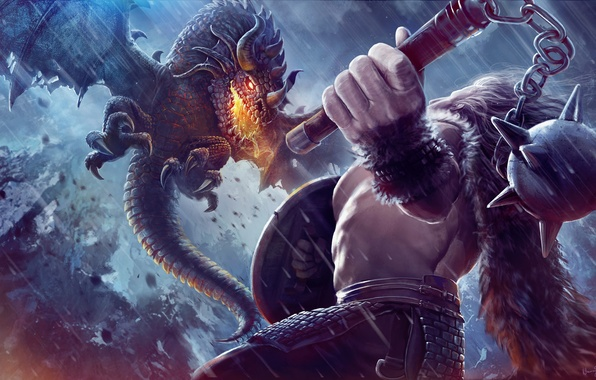 Picture flight, fire, dragon, warrior, art, fantasy, shield, fantasy, Mace, Morgenstern, fire-breathing