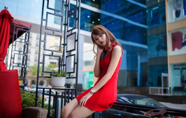 Picture bright, the city, makeup, the girl in the red