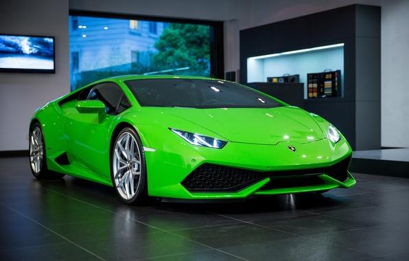 Picture green, Lamborghini, room, Huracan