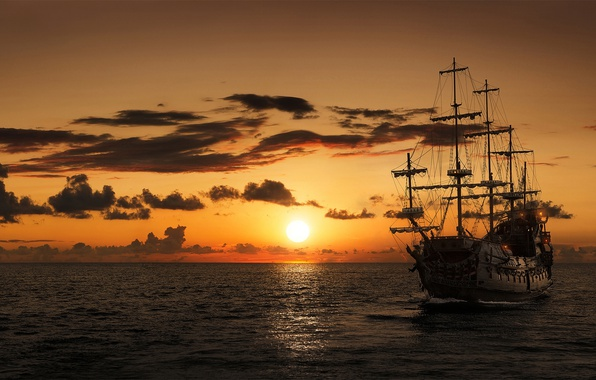 Picture sea, sunset, ship, sailboat, frigate