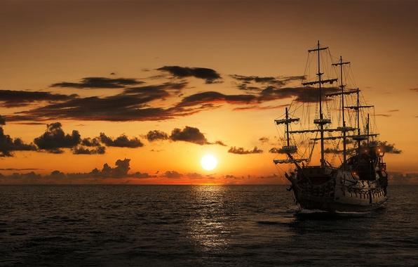 Photo wallpaper sunset, sailboat, ship, frigate, sea
