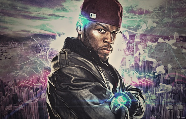 Picture wave, abstraction, the city, music, rap, rapper, 50 cent, Curtis James
