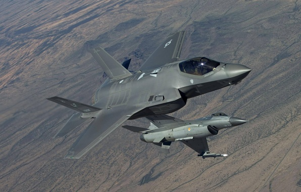 Picture earth, fighters, flight, F-16, Fighting Falcon, Lightning II, F-35