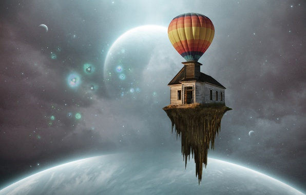 Picture space, house, balloon, island, planet, ball