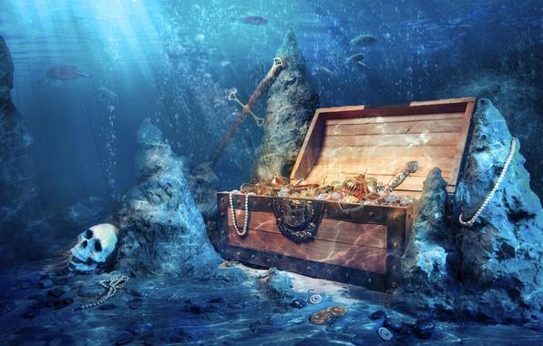 Picture fish, stones, skull, depth, sword, coins, chest, treasures
