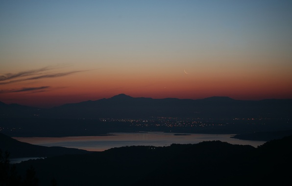 Picture mountains, the city, lights, lake, sunrise, The moon, Venus, Turkey, Izmir
