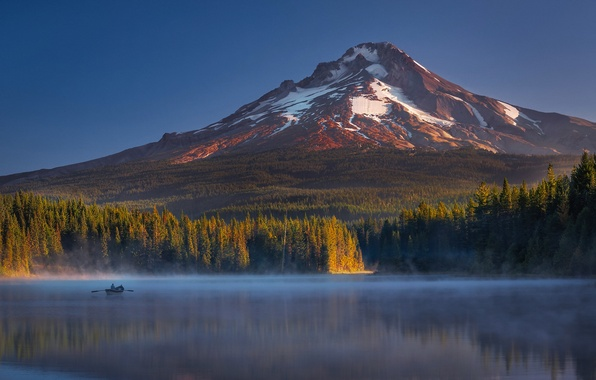 Picture autumn, forest, light, lake, boat, people, mountain, Oregon, shadows, USA, state, Mount Hood, TRILLIUM