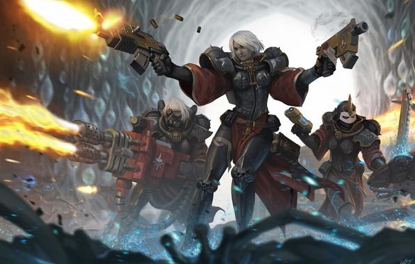 Picture weapons, girls, art, cave, armor, battle, warhammer 40k, shots, Sister of Battle