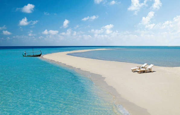 Picture sand, sea, beach, the sky, the ocean, boat, chaise, braid, The Maldives