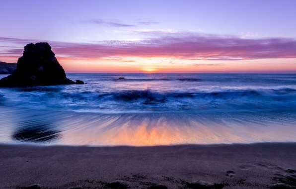 Picture sand, the sky, clouds, sunset, rock, the ocean, shore, Sea, the evening, horizon, surf, lilac
