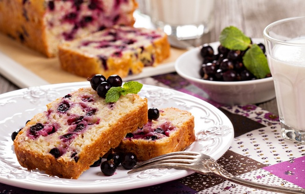 Picture food, milk, Cup, cake, cake, fruit, cake, dessert, food, cup, sweet, fruits, dessert, milk, blackcurrant, ...