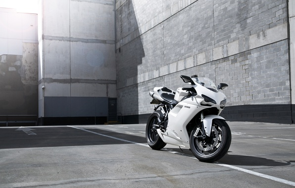 Picture white, strip, shadow, motorcycle, white, Blik, bike, ducati, Ducati, supersport, 1198