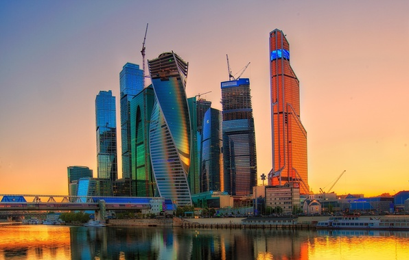 Picture the sky, sunset, the city, river, home, Russia, Russia, skyscrapers, capital, Moscow-City, Moscow-City