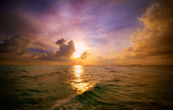 Picture The sun, The sky, Clouds, Reflection, Sea, Wave, Light, Rays, Landscape, Blik