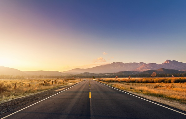 Picture road, sunset, mountains, bridge, the fence, road, bridge, sunset, mountains, fence