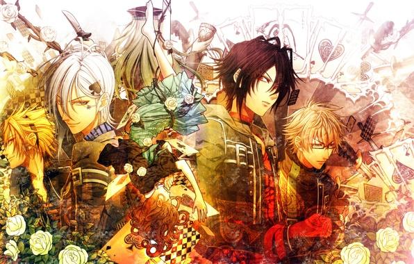 Picture card, girl, roses, guys, knives, Amnesia, Shin, Amnesia, Heroine, Kent, Toma, Ikki