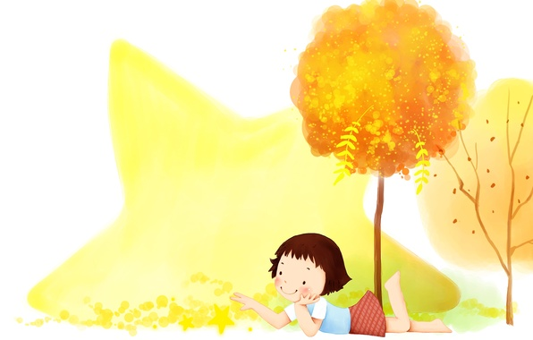 Picture autumn, trees, smile, foliage, star, girl, baby Wallpaper