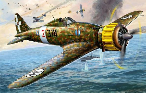Picture sea, the sky, fighter, battle, art, boat, Italian, C.200, Macchi, Saetta, McKee, WW2., single, Saetta, …