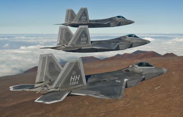 Picture flight, fighters, F-22, Raptor