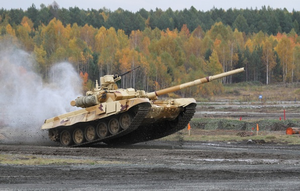 Picture power, jump, beauty, tank, Russia, military equipment, T-90, UVZ