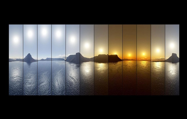 Picture the sky, water, night, nature, lake, mountain, shadow, morning, day, Day