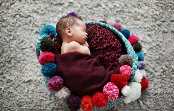 Picture children, background, Wallpaper, mood, sleep, baby, sleeping, basket, wallpapers, baby, newborn